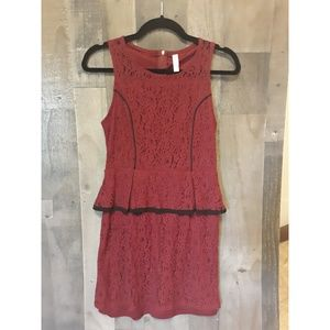 Maroon dress with black accents